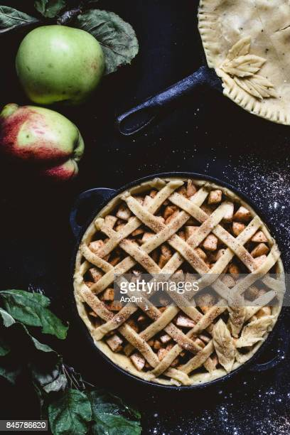apple pie before baking top view - thanksgiving background stock photos and pictures