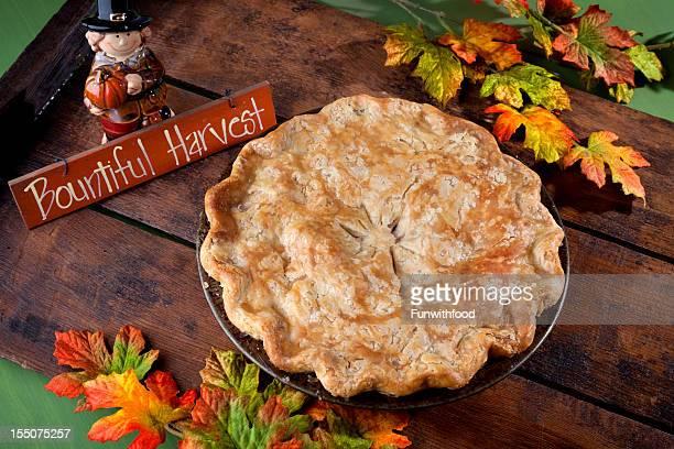 Apple Pie Dessert for Thanksgiving, Autumn Harvest Food Background