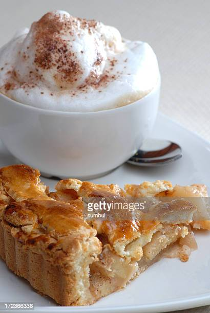 Apple pie with a cup of cappucino