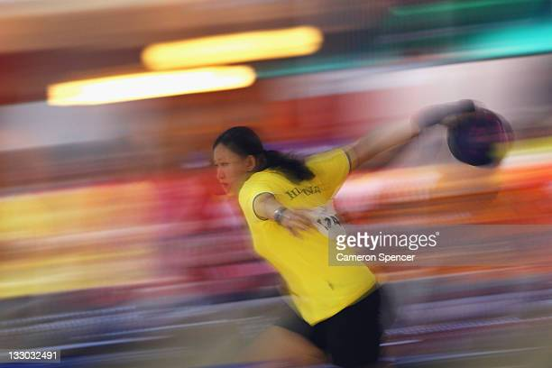 Apple Posadas of the Philippines bowls during the women's doubles bowling on day six of the 2011 Southeast Asian Games at Arena Bowling Jaya Ancol on...