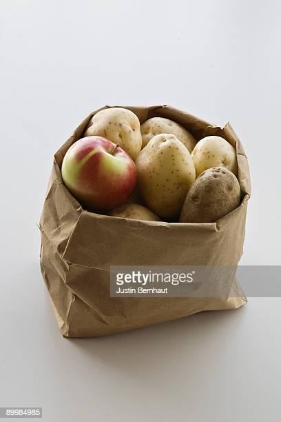 Apple & Potatoes in Brown Paper Bag