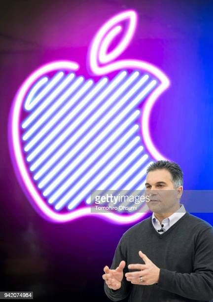 Apple Senior Market Director Denny Tuza speaks during a media preview of the Apple Shinjuku store on April 5 2018 in Tokyo Japan Apple Japan held a...