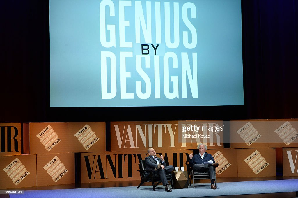 Apple Senior Vice President of Design Jonathan Ive and Vanity Fair Editor-in-Chief Graydon Carter speak onstage during 'Genius by Design' at the Vanity Fair New Establishment Summit at Yerba Buena Center for the Arts on October 9, 2014 in San Francisco, California.