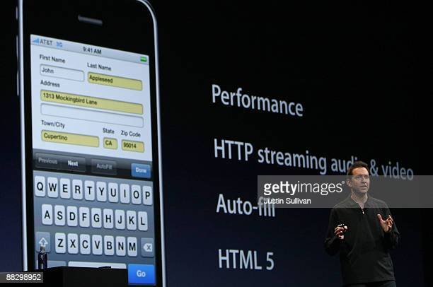 Apple Senior Vice President of iPhone Software Scott Forstall delivers a keynote address on the new iPhone 30 operating system at the Apple World...