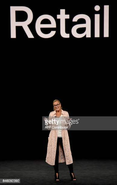 Apple Senior Vice President of Retail Angela Ahrendts speaks during a media event at Apple's new headquarters in Cupertino California on September 12...