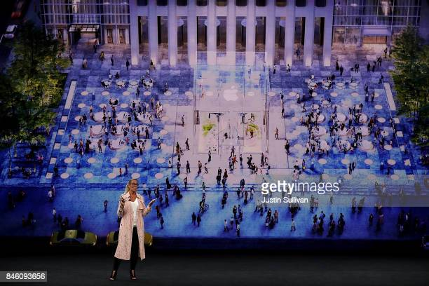Apple senior vice president of retail Angela Ahrendts speaks during an Apple special event at the Steve Jobs Theatre on the Apple Park campus on...