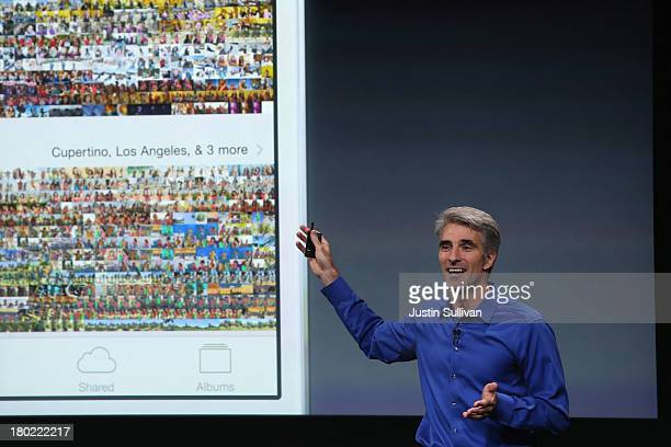 Apple Senior Vice President of Software Engineering Craig Federighi speaks about iOS 7 on stage during an Apple product announcement at the Apple...
