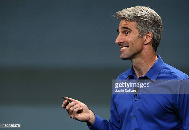 Apple Senior Vice President of Software Engineering Craig Federighi speaks during an Apple product announcement at the Apple campus on September 10...