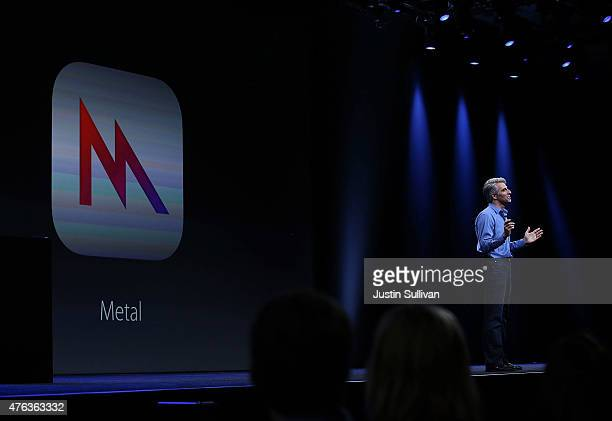 Apple senior vice president of Software Engineering Craig Federighi speaks about Metal during Apple WWDC on June 8 2015 in San Francisco California...