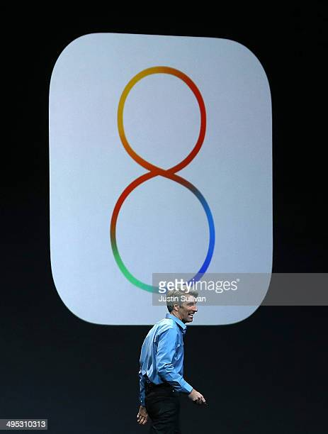 Apple Senior Vice President of Software Engineering Craig Federighi speaks during the Apple Worldwide Developers Conference at the Moscone West...