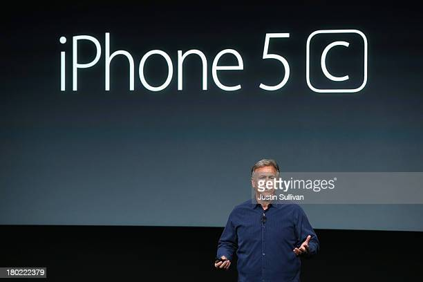 Apple Senior Vice President of Worldwide Marketing at Phil Schiller speaks about the new iPhone 5Cduring an Apple product announcement at the Apple...