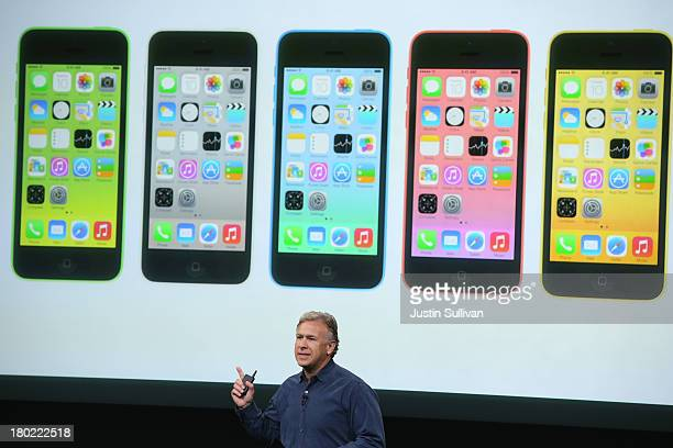 Apple Senior Vice President of Worldwide Marketing at Phil Schiller speaks about the new iPhone 5C during an Apple product announcement at the Apple...