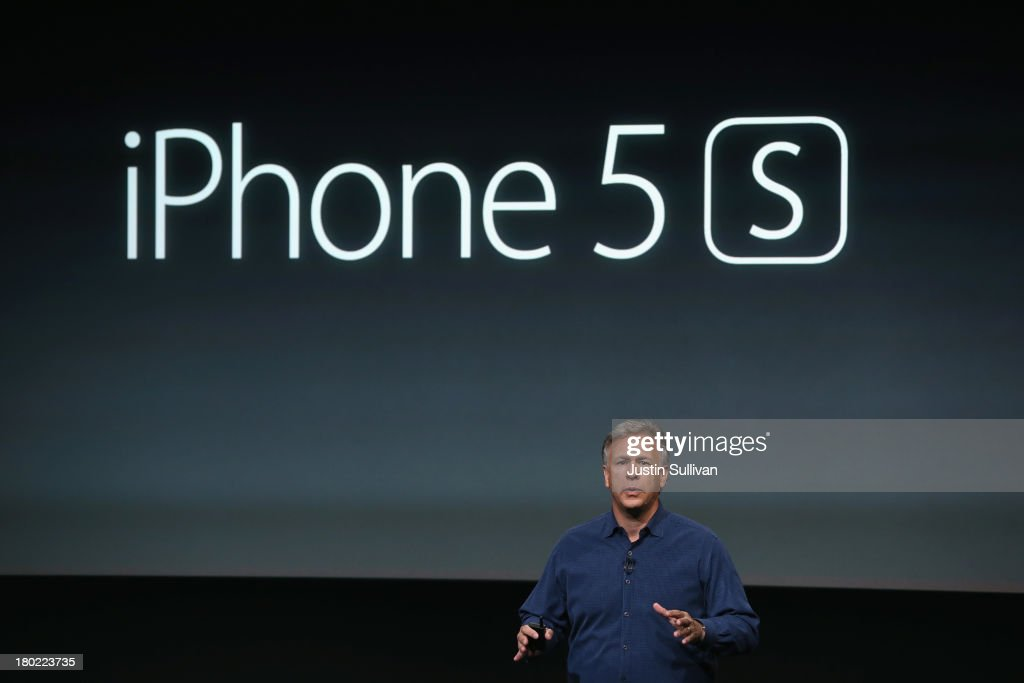 Apple Senior Vice President of Worldwide Marketing at Phil Schiller speaks about the new iPhone 5S during an Apple product announcement at the Apple campus on September 10, 2013 in Cupertino, California. The company launched two new iPhone models that will run iOS 7. The 5C is made from hard-coated polycarbonate and comes in various colors. The 5S comes in three colors and contains an A7 chip.