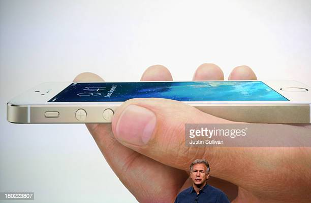 Apple Senior Vice President of Worldwide Marketing at Phil Schiller speaks about the new iPhone 5S during an Apple product announcement at the Apple...