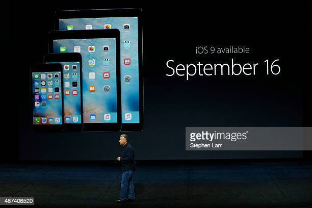 Apple Senior Vice President of Worldwide Marketing Phil Schiller speaks about iOS 9 availability during a Special Event at Bill Graham Civic...