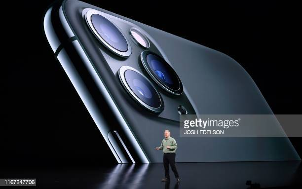 Apple Senior Vice President of Worldwide Marketing Phil Schiller speaks on-stage during a product launch event at Apple's headquarters in Cupertino,...