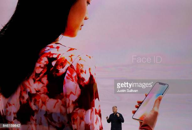 Apple senior vice president of worldwide marketing Phil Schiller speaks during an Apple special event at the Steve Jobs Theatre on the Apple Park...