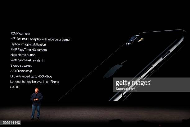 Apple Senior Vice President of Worldwide Marketing Phil Schiller speaks on stage during a launch event on September 7 2016 in San Francisco...