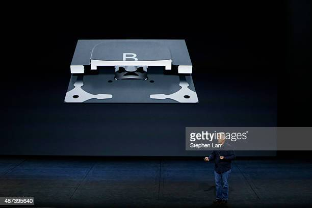 Apple Senior Vice President of Worldwide Marketing Phil Schiller speaks about the new keyboard for the iPad Pro during a Special Event at Bill Graham...