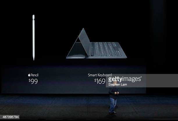 Apple Senior Vice President of Worldwide Marketing Phil Schiller speaks about the Apple Pencil and the Smart Keyboard prices for iPad Pro on stage...