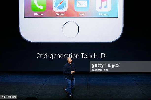 Apple Senior Vice President of Worldwide Marketing Phil Schiller speaks about the Touch ID on the new iPhone 6s and 6s Plus during a Special Event at...