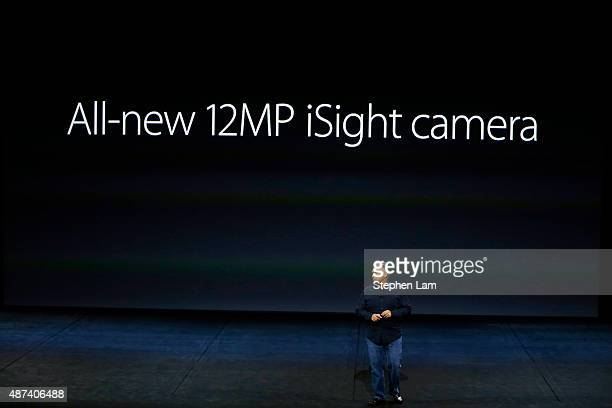 Apple Senior Vice President of Worldwide Marketing Phil Schiller speaks about the iPhone 6s camera during a Special Event at Bill Graham Civic...
