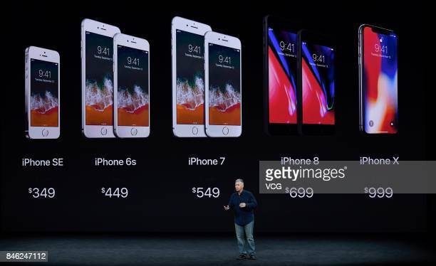 Apple senior vice president of worldwide marketing Phil Schiller speaks during the Apple launch event on September 12 2017 in CupertinoCalifornia...