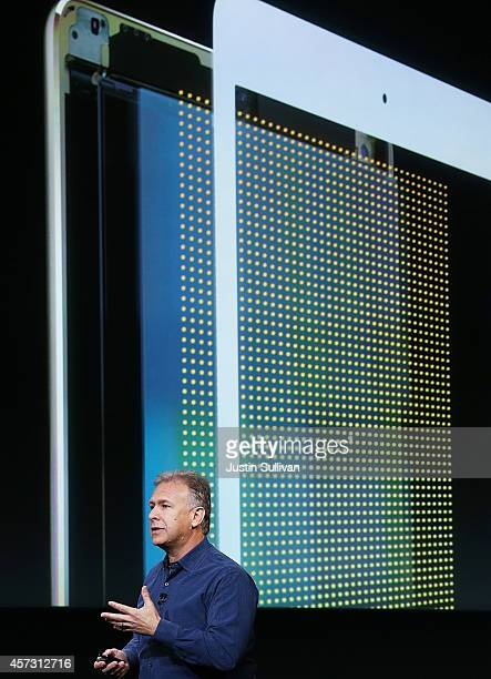 Apple Senior Vice President of Worldwide Marketing Phil Schiller announces the new iPad Air 2 during a special event on October 16 2014 in Cupertino...