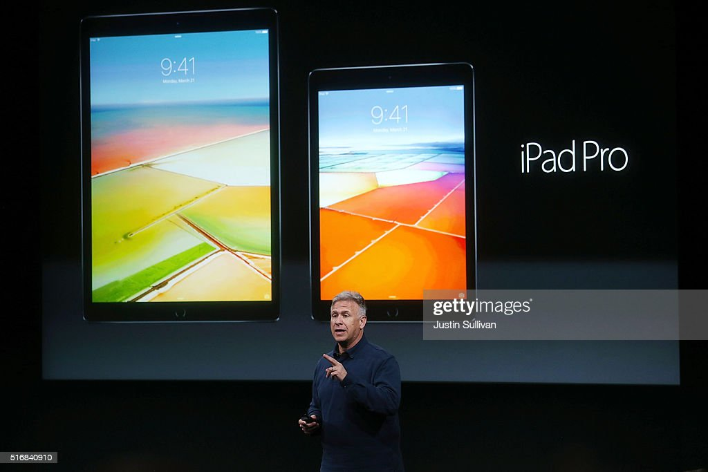 Apple senior vice president of worldwide marketing Phil Schiller announces the new 9.7' iPad pro during an Apple special event at the Apple headquarters on March 21, 2016 in Cupertino, California. The company announced updates to its iPhone and iPad lines, and introduced new bands for the Apple Watch.