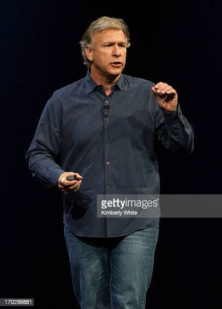 Apple Senior Vice President of Worldwide product marketing Phil Schiller speaks during the keynote address during the 2013 Apple WWDC at the Moscone...