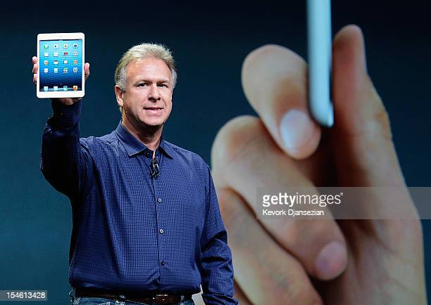 Apple Senior Vice President of Worldwide product marketing Phil Schiller announces the new iPad Mini during an Apple special event at the historic...