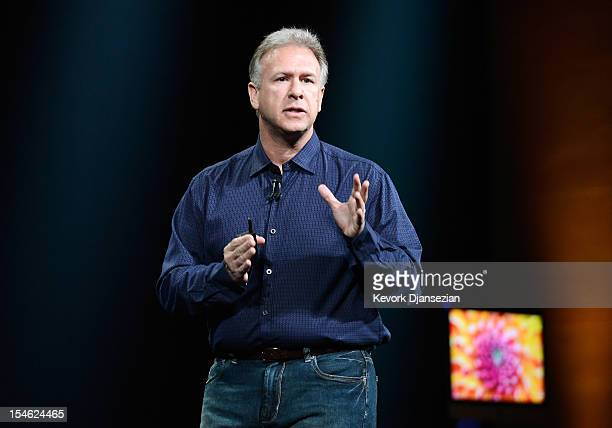 Apple Senior Vice President of Worldwide product marketing Phil Schiller announces the new iMac during an Apple special event at the historic...
