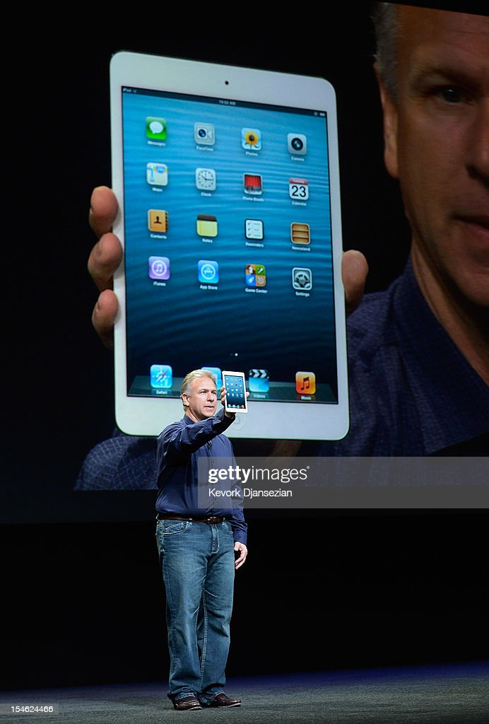 Apple Senior Vice President of Worldwide product marketing Phil Schiller announces the new iPad Mini during an Apple special event at the historic California Theater on October 23, 2012 in San Jose, California. Apple introduced the new iPad mini at the event, Apple's smaller 7.9 inch version of the iPad tablet.