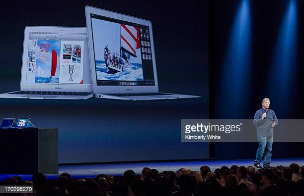 Apple Senior Vice President of Worldwide product marketing Phil Schiller introduces the new MacBook Air at a keynote address during the 2013 Apple...