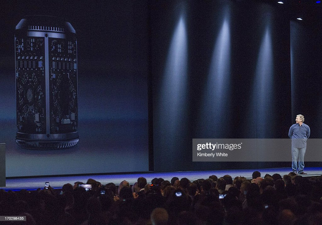 Apple Senior Vice President of Worldwide product marketing, Phil Schiller, introduces the new Mac Pro at a keynote address during the 2013 Apple WWDC at the Moscone Center on June 10, 2013 in San Francisco, California. Apple introduced a new mobile operatng system iOS 7, hardware upgrades and a new operating system OS X Mavericks during the keynote qaddress. The annual developer conference runs through June 14.