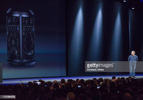 Apple Senior Vice President of Worldwide product marketing Phil Schiller introduces the new Mac Pro at a keynote address during the 2013 Apple WWDC...