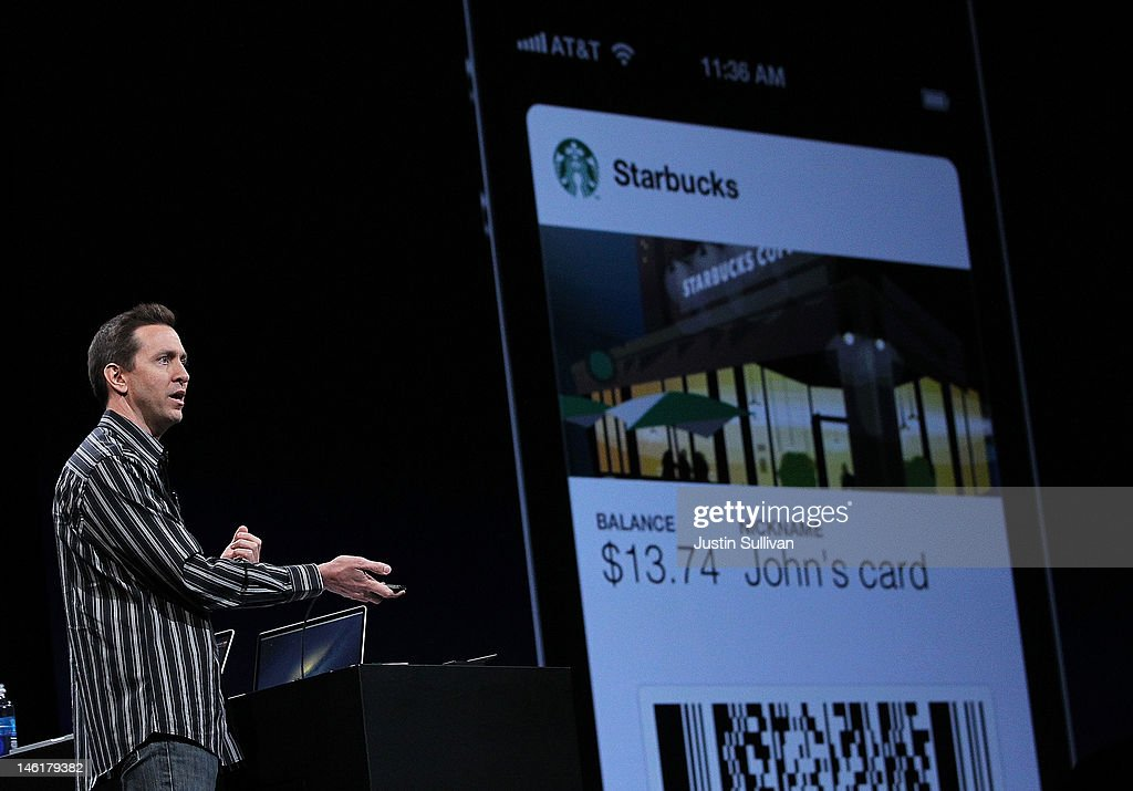 Apple Senior VP of iPhone Software Scott Forstall demonstrates new Passbook application that is part of iOS 6 during the keynote address at the Apple 2012 World Wide Developers Conference (WWDC) at Moscone West on June 11, 2012 in San Francisco, California. Apple unveiled a slew of new hardware and software updates at the company's annual developer conference which runs through June 15.