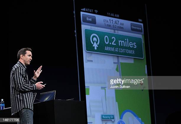 Apple Senior VP of iPhone Software Scott Forstall demonstrates the new map application featured on iOS 6 during the keynote address during the 2012...