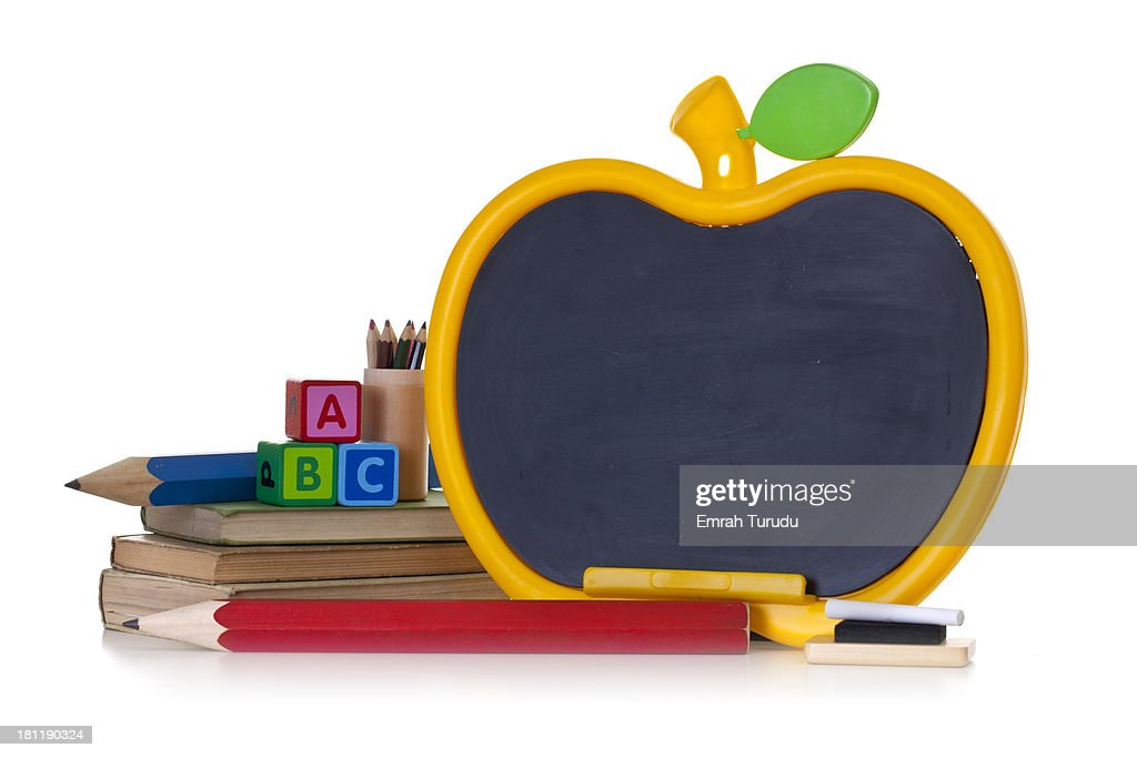 Apple Shape Chalkboard On The White Background Stock Photo