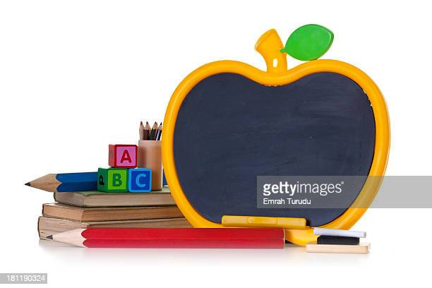 Apple shape chalkboard on the white background