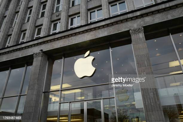Apple sign of the Apple store is seen on December 28, 2020 in Hamburg, Germany.