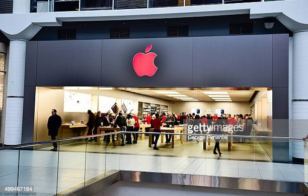 Apple store Eaton Centre turns logo red for World AIDS Day in support of RED at Eaton Centre Shopping Centre on December 1 2015 in Toronto Canada