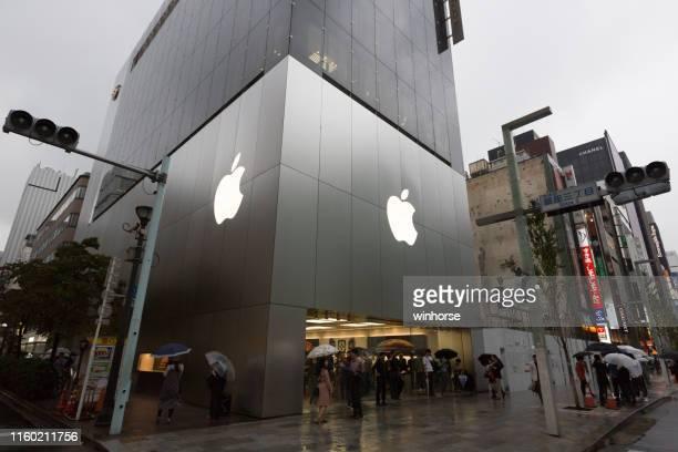 apple store em ginza, tokyo, japan - loja da apple - fotografias e filmes do acervo