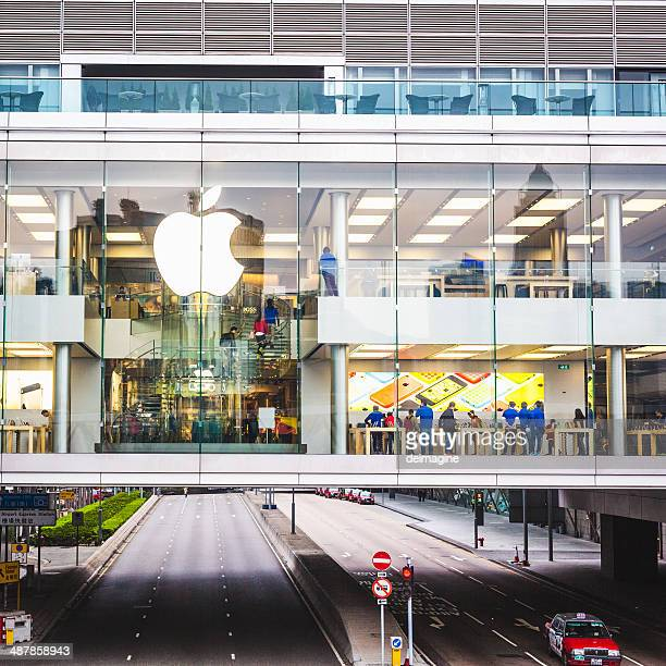 apple store in hong kong - two international finance center stock pictures, royalty-free photos & images