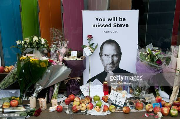 Apple store Regent street London Memorial to Steve Jobs who died October 5th 2011
