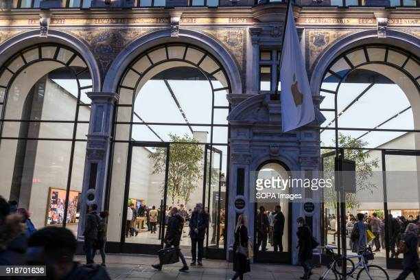 Apple store seen in London famous Oxford street Central London is one of the most attractive tourist attraction for individuals whose willing to shop...