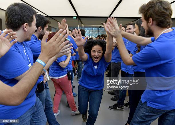 Apple Store workers celebrate the retailing of sales iPhone 6 and iPhone 6 Plus at Apple Store in Zorlu Center on September 26 Istanbul Turkey