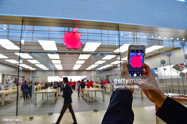 Apple store Yorkdale turns logo red for World AIDS Day in support of RED at Yorkdale Mall on December 1 2015 in Toronto Canada