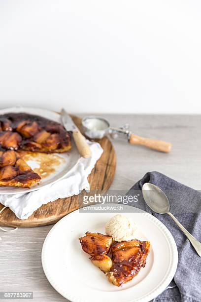 Apple Tarte Tatin and vanilla ice-cream