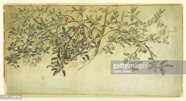 Apple Tree , Walter Shirlaw, American, b. Scotland, 1838–1909, Brush and watercolor, graphite on paper, Ripening apples are shown. Framed by a...